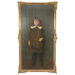 Large Antique 19th Century Genre Portrait of a Boy by Adolf Heller, Oil Painting