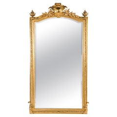 Large Antique 19th Century Gold Gilt French Louis XVI Mirror with Crest