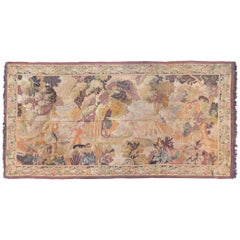 Large Antique 19th Century Lavender and Gold French Handloom Tapestry