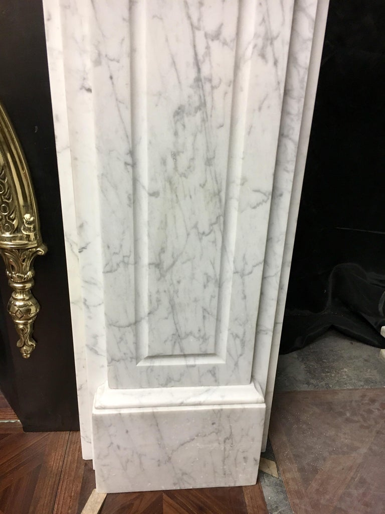 Carved Large Antique 19th Century Mid-Victorian Carrara Marble Fireplace Surround For Sale