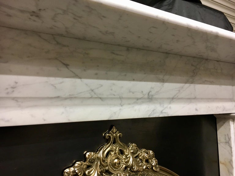 Mid-19th Century Large Antique 19th Century Mid-Victorian Carrara Marble Fireplace Surround For Sale
