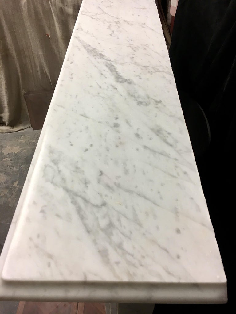 Large Antique 19th Century Mid-Victorian Carrara Marble Fireplace Surround For Sale 2