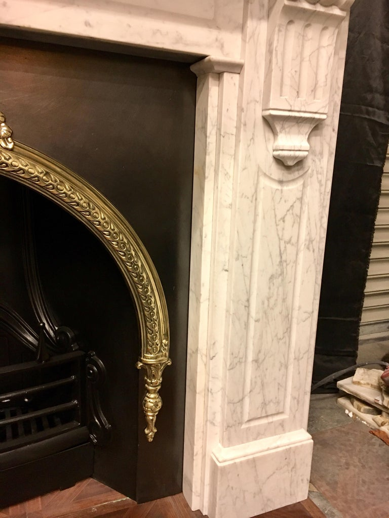 Large Antique 19th Century Mid-Victorian Carrara Marble Fireplace Surround For Sale 3
