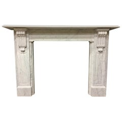 Large Antique 19th Century Mid-Victorian Carrara Marble Fireplace Surround