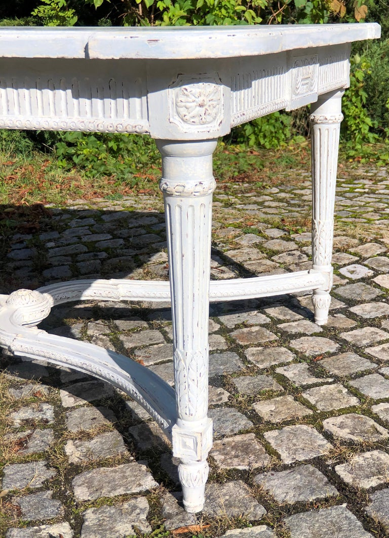 Large Antique 19th Century Swedish Painted Dining Room Table For Sale 4
