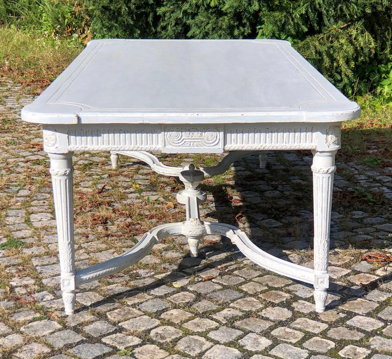 Gustavian Large Antique 19th Century Swedish Painted Dining Room Table For Sale