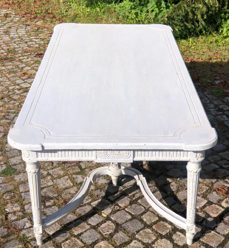 Hand-Carved Large Antique 19th Century Swedish Painted Dining Room Table For Sale