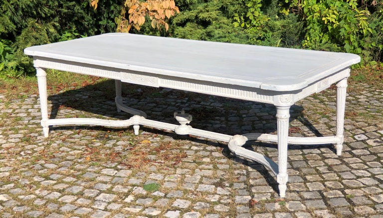 Large Antique 19th Century Swedish Painted Dining Room Table For Sale 3