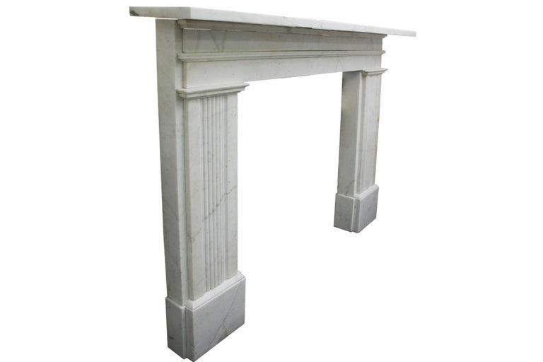 English Large Antique 19th Century Victorian White Marble Fireplace Surround For Sale