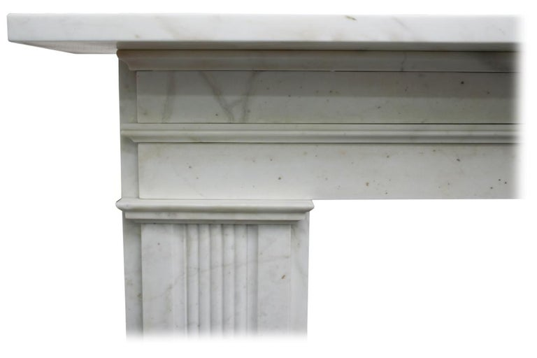 Large Antique 19th Century Victorian White Marble Fireplace Surround For Sale 1