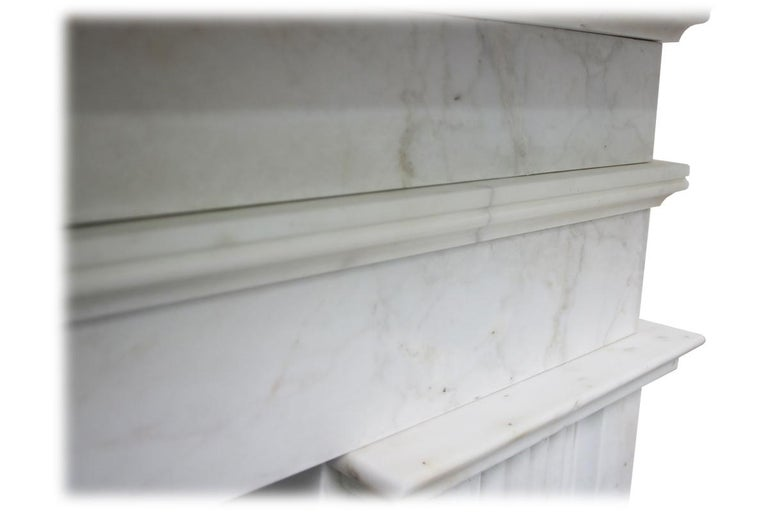 Large Antique 19th Century Victorian White Marble Fireplace Surround For Sale 2