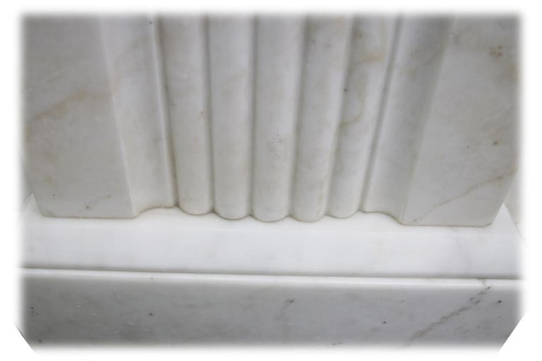 Large Antique 19th Century Victorian White Marble Fireplace Surround For Sale 5