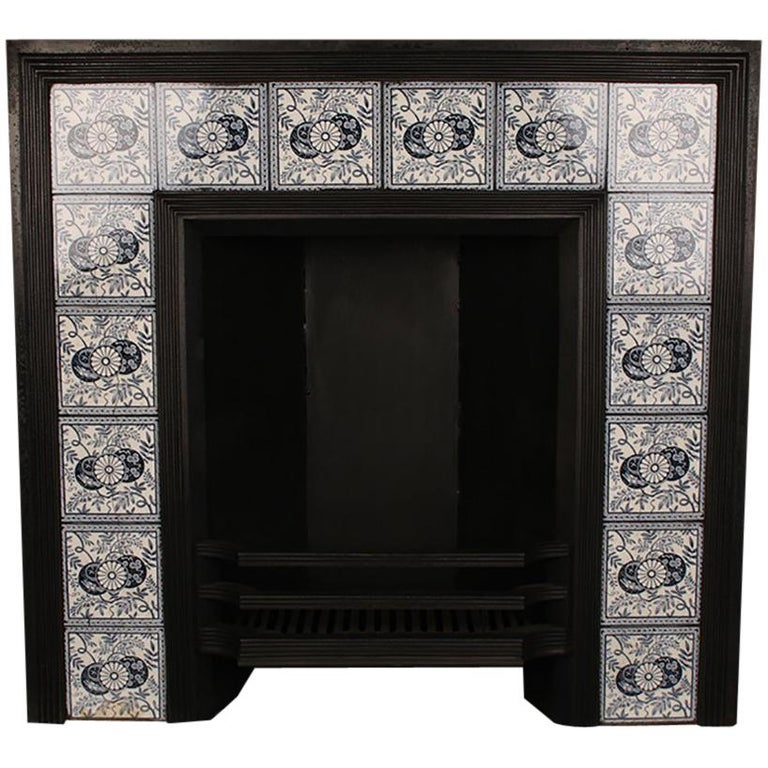 Large Antique Aesthetic Movement Victorian Tiled Cast Iron Fireplace