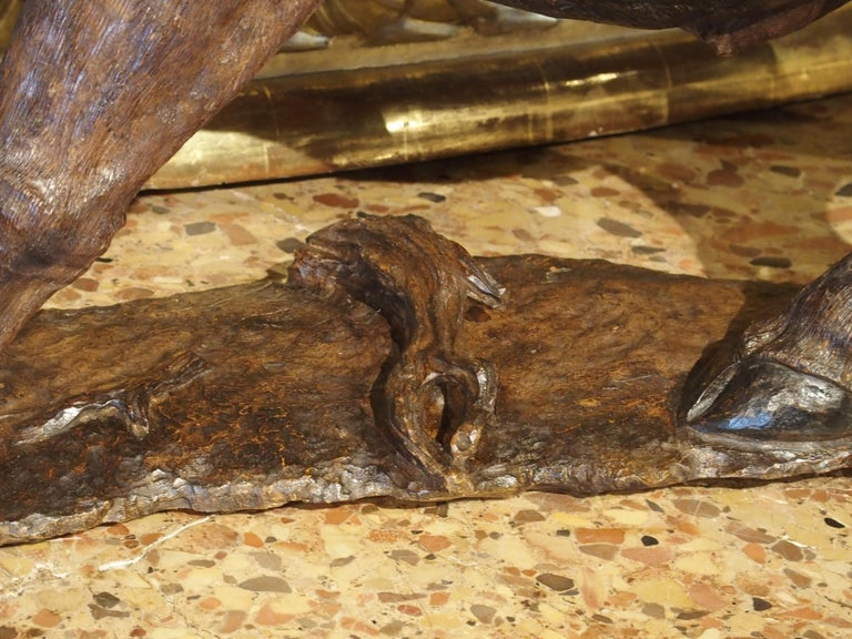 Large Antique African Hardwood Cape Buffalo Sculpture, circa 1900 For Sale 6