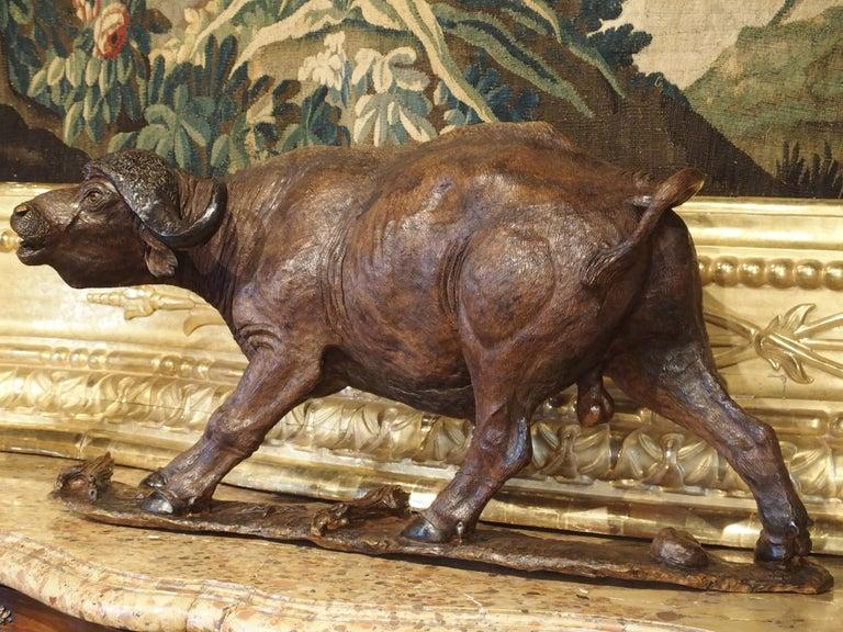 Large Antique African Hardwood Cape Buffalo Sculpture, circa 1900 For Sale 4
