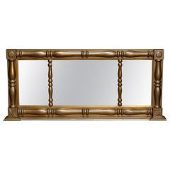 Large Antique American Empire Triptych Giltwood over Mantel Mirror, circa 1840
