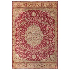Large Antique Amritsar/ Agra Carpet with Floral Design in Red, Taupe and Green