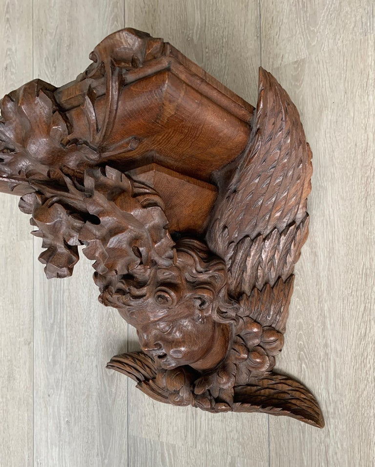 Large size and Top Quality Gothic Art Wall Bracket or Shelf with Angel or Putto For Sale 8