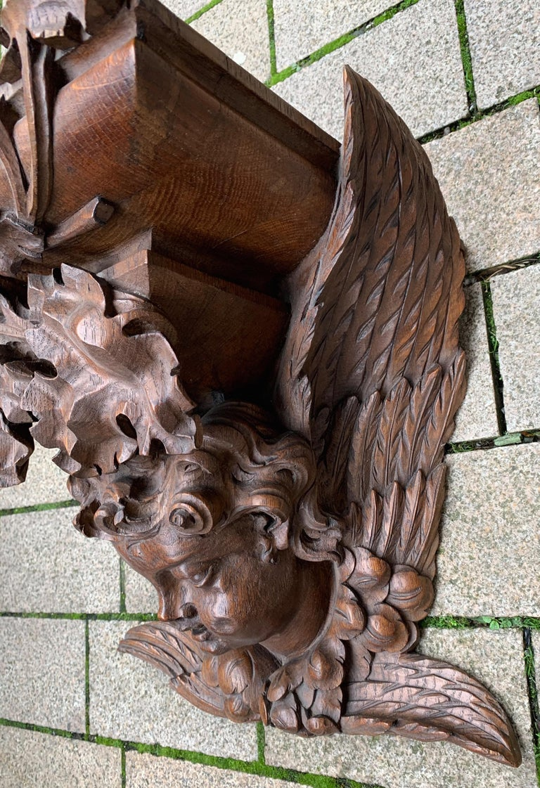European Large size and Top Quality Gothic Art Wall Bracket or Shelf with Angel or Putto For Sale