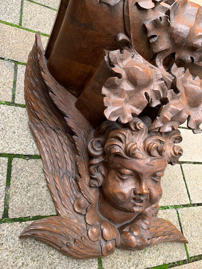 Hand-Carved Large size and Top Quality Gothic Art Wall Bracket or Shelf with Angel or Putto For Sale