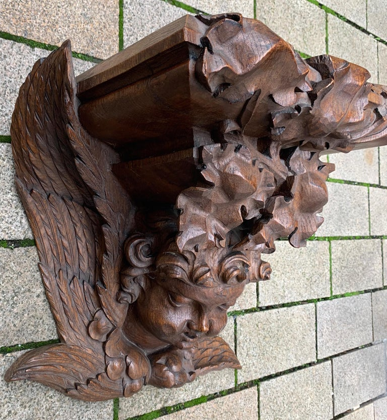 19th Century Large size and Top Quality Gothic Art Wall Bracket or Shelf with Angel or Putto For Sale
