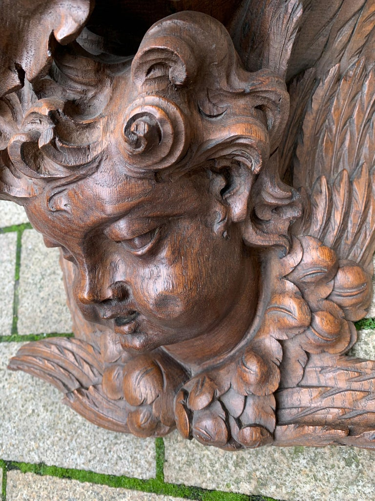 Oak Large size and Top Quality Gothic Art Wall Bracket or Shelf with Angel or Putto For Sale