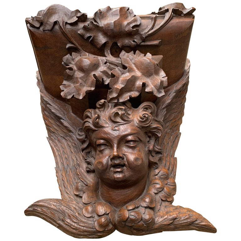 Large size and Top Quality Gothic Art Wall Bracket or Shelf with Angel or Putto For Sale