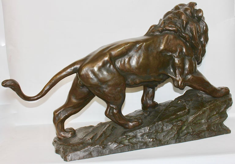 Large, Antique and Very Fine Bronze Sculpture, Striding, Roaring Lion In Good Condition For Sale In Berlin, DE