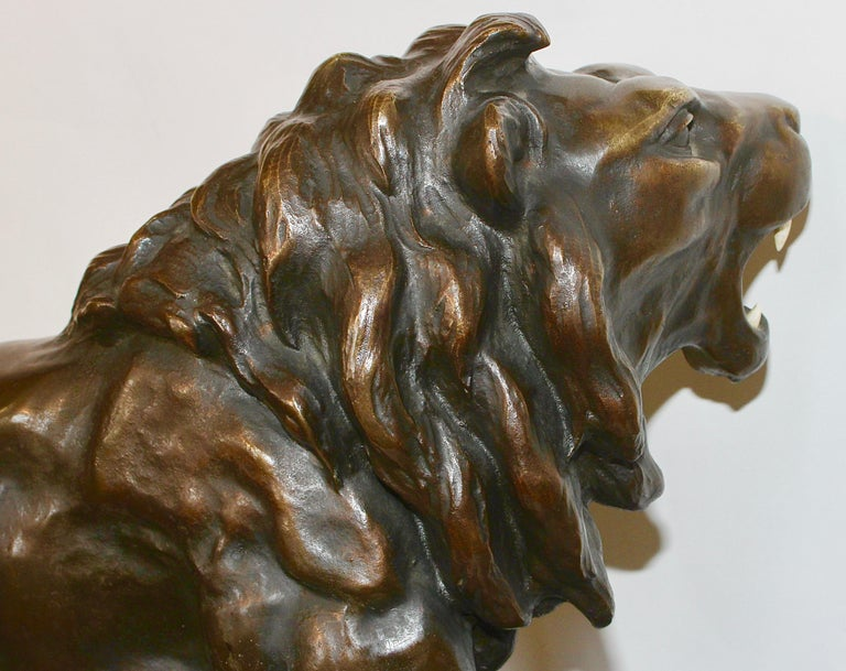 19th Century Large, Antique and Very Fine Bronze Sculpture, Striding, Roaring Lion For Sale