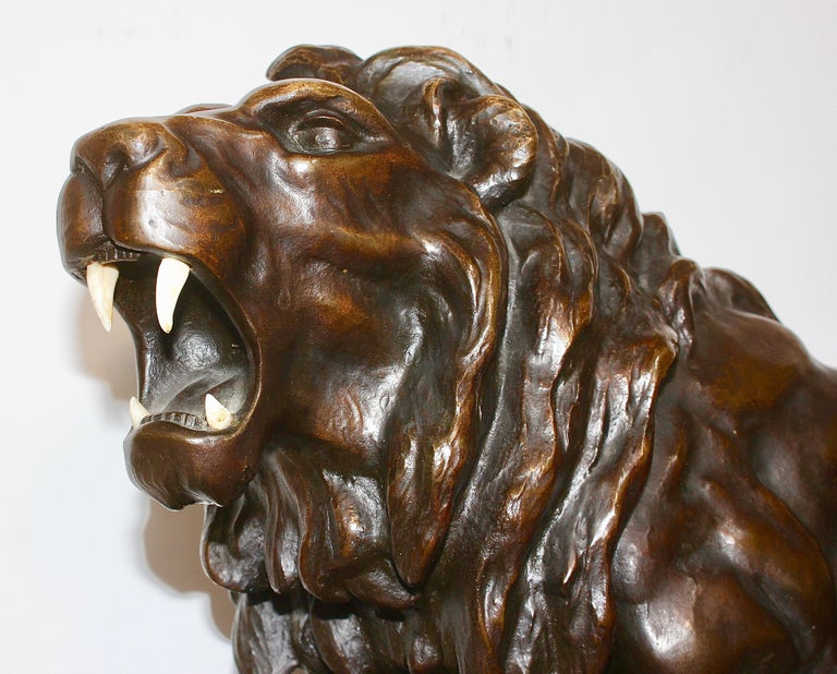 Large, Antique and Very Fine Bronze Sculpture, Striding, Roaring Lion For Sale 2