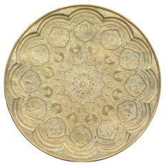 Large Antique Anglo-Indian Hand-Crafted Brass Table Top with Chased Vignettes