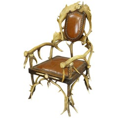 Large Antique Antler Easy Chair, circa 1900
