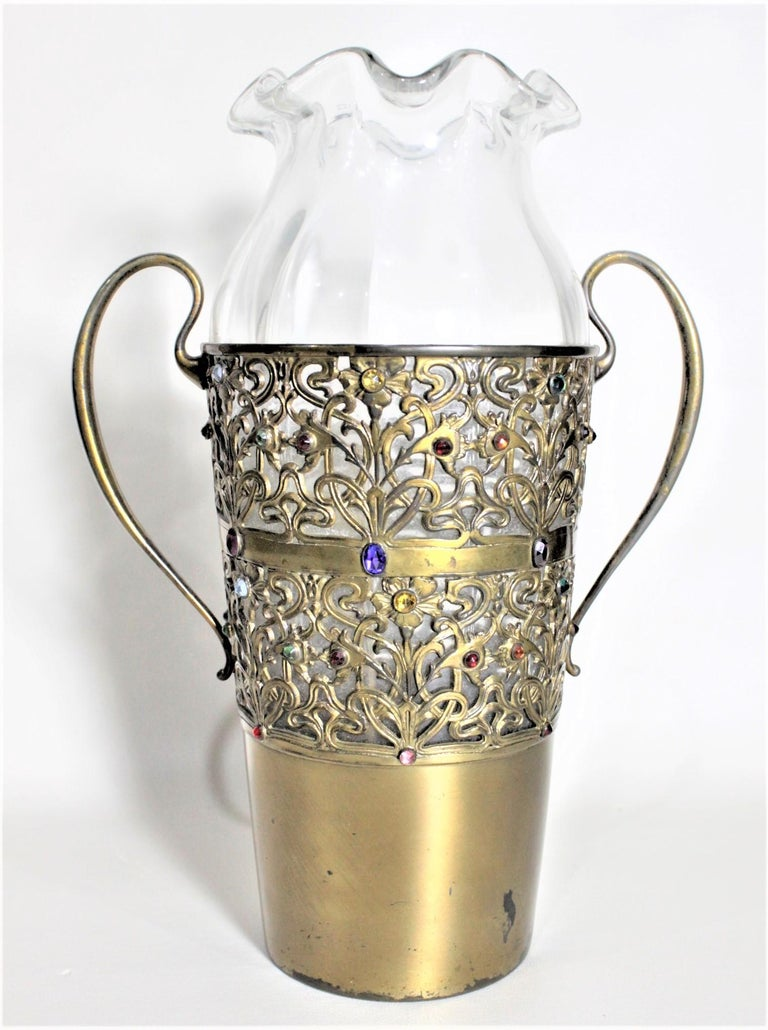 Victorian Large Antique Apollo Silver Co. Vase with Jewels and Brass Patinated Filigree For Sale