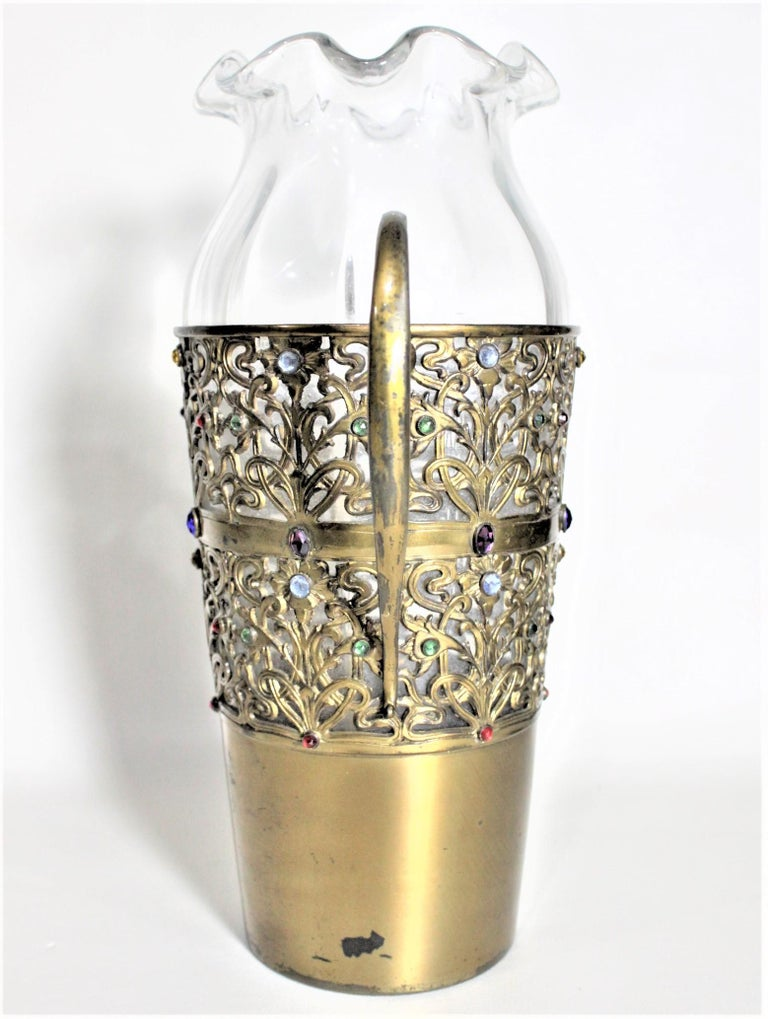 American Large Antique Apollo Silver Co. Vase with Jewels and Brass Patinated Filigree For Sale
