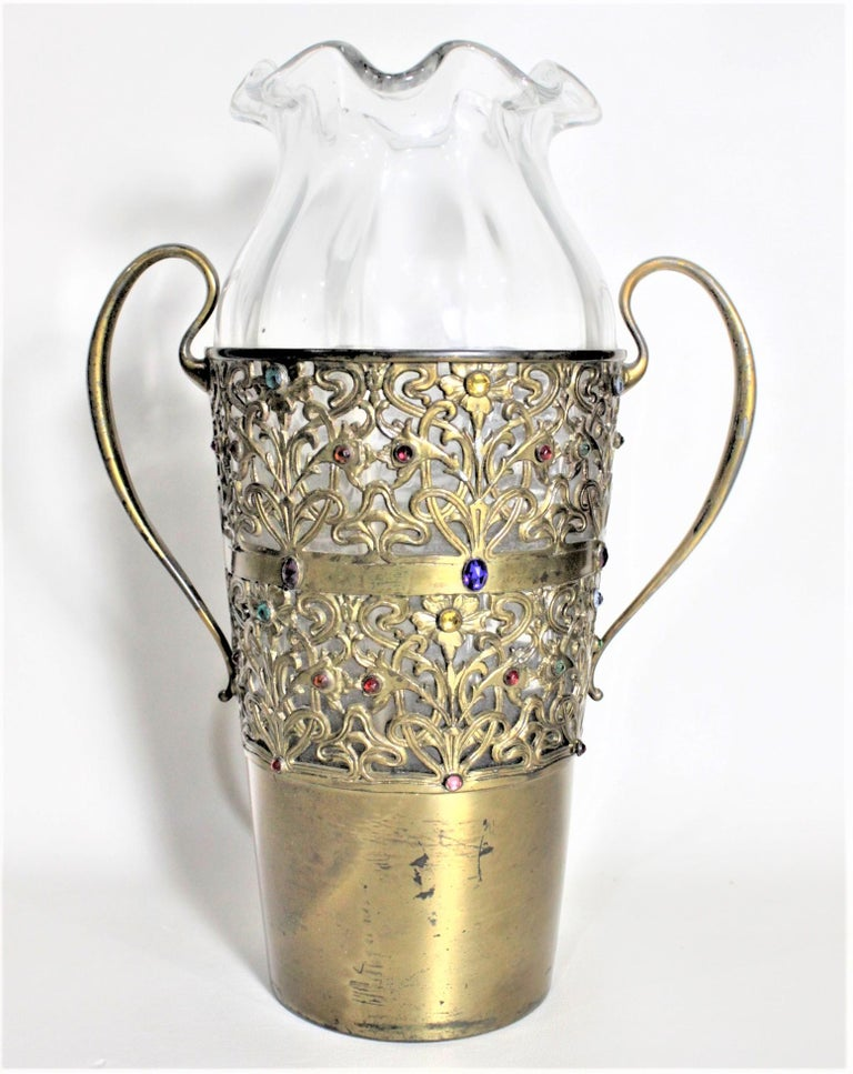 Metal Large Antique Apollo Silver Co. Vase with Jewels and Brass Patinated Filigree For Sale