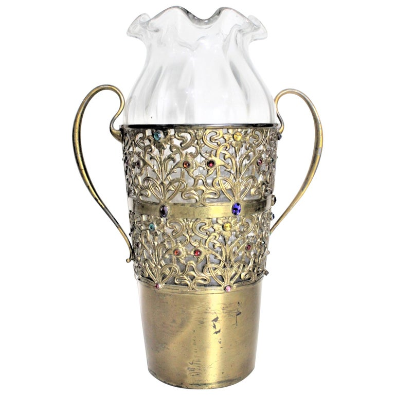 Large Antique Apollo Silver Co. Vase with Jewels and Brass Patinated Filigree For Sale