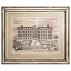 Large Antique Architectural Prints or Engraving of Montagu House, circa 1715