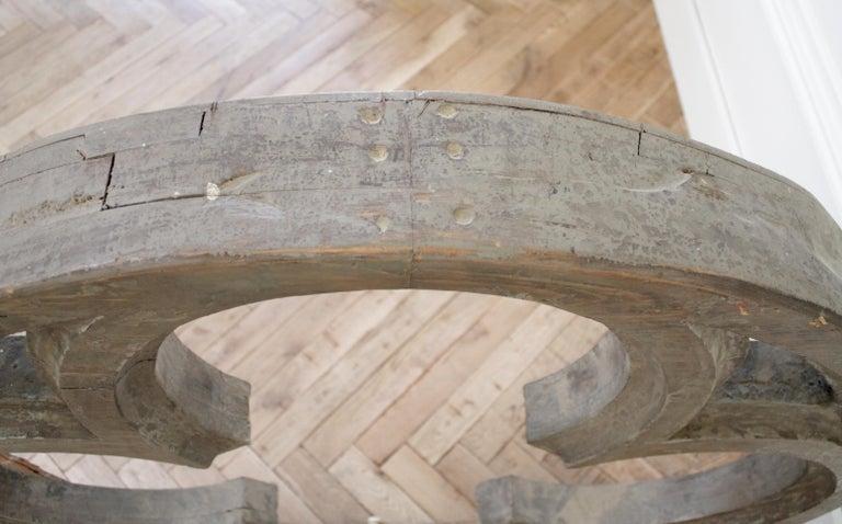 Large Antique Architectural Wood Quatrefoil Frame For Sale 7
