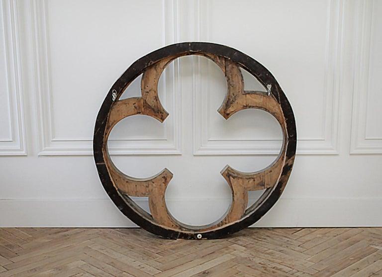 Large Antique Architectural Wood Quatrefoil Frame For Sale 8