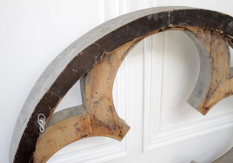Large Antique Architectural Wood Quatrefoil Frame For Sale 9