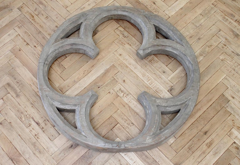 Large antique architectural wood quatrefoil frame Original carved antique quatrefoil, with original painted finish. This has a weathered gray patina, you can hang as is, or add mirror to it. Measurements: 47