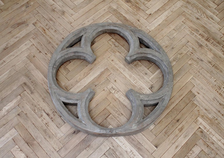 Large Antique Architectural Wood Quatrefoil Frame In Good Condition For Sale In Brea, CA