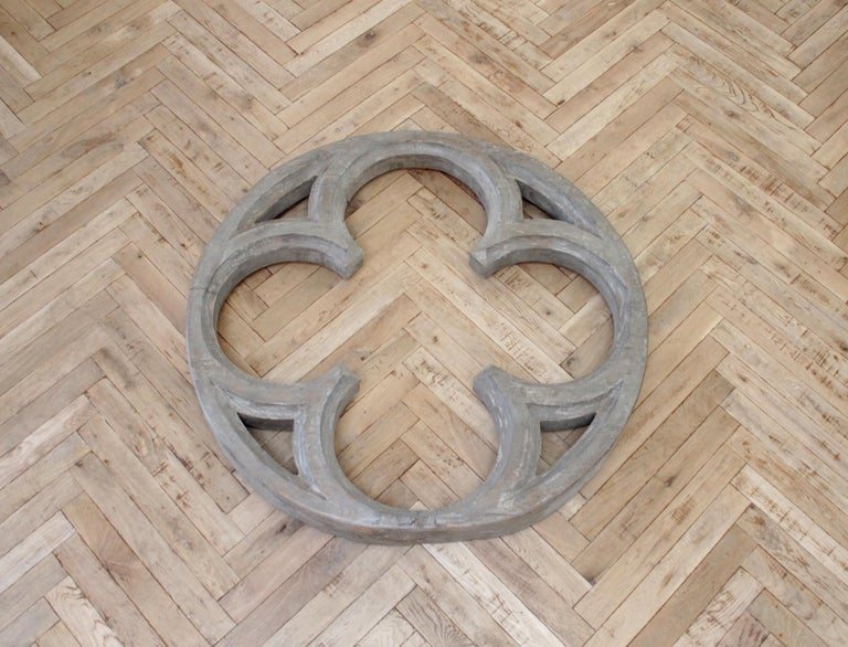 19th Century Large Antique Architectural Wood Quatrefoil Frame For Sale