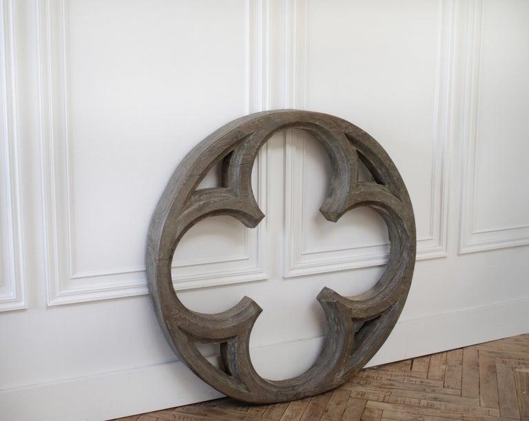 Large Antique Architectural Wood Quatrefoil Frame For Sale 1