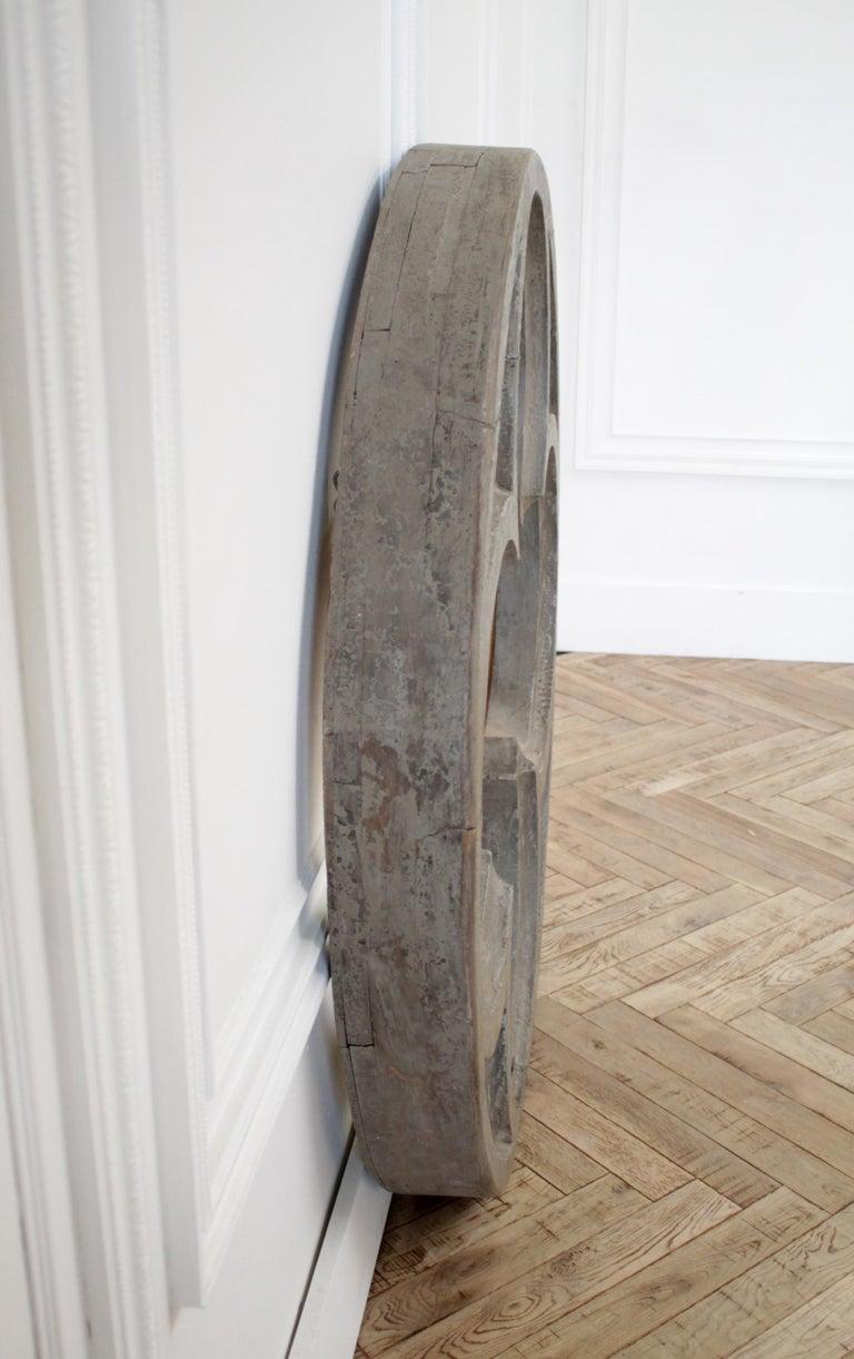 Large Antique Architectural Wood Quatrefoil Frame For Sale 3