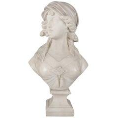 Large Antique Art Deco Carved Alabaster Portrait Sculpture Signed Cipriani