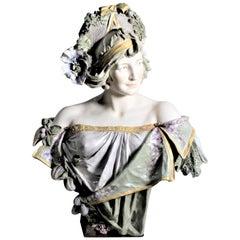 Large Antique Art Nouveau Austrian Porcelain Female Sculpture or Bust