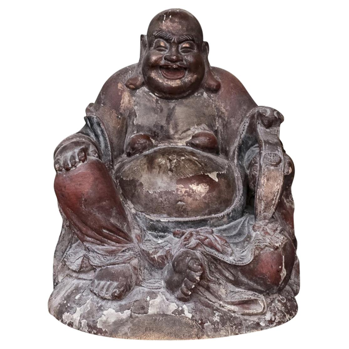 Large Antique Asian Wood Sculpture of the Laughing Buddha