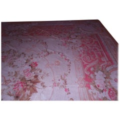 Large Antique Aubusson Rug in Apricot, Coral and Pink
