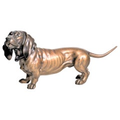 Large Antique Austrian Cold-Painted Bronze Basset Hound Dog Figurine